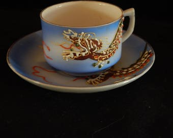 "Demitasse China Teacup & matching Saucer with hand painted raised dragon motif - ""Occupied Japan"""