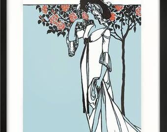 You are Beautiful Vintage Art Print, Art Nouveau, Vintage Art Gift, Inspirational Quote