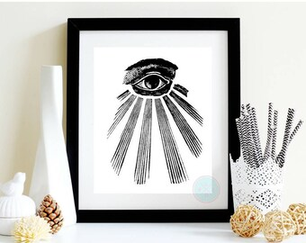 PRINTABLE ART Occult Print All Seeing Eye Illuminati Art Eye Art Esoteric Print Chiromancy Print Occult Art Illuminati Print Occult poster
