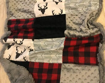 Personalized Rustic Deer Quilted Baby Blanket- elk, deer head, buffalo check, arrows, gray, red and black plaid, dot minky, crib bedding