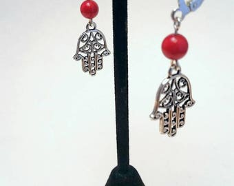 Tibetan Silver Hamsa Hand Charm Earrings with Red Bamboo Coral on Lever Back Earwire
