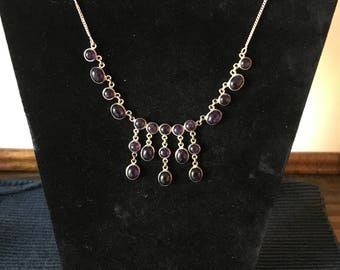 Silver and Amethyst Cabochon Necklace