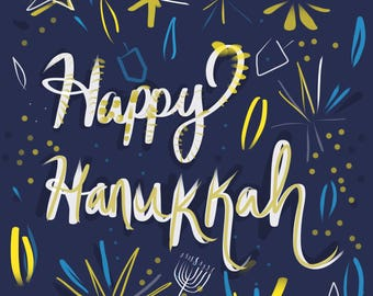 Happy Hanukkah Printable Greeting Card, Blue and Yellow Happy and Energetic, designed in Israel