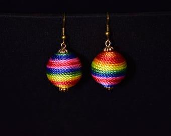 Rainbow Earrings, Tie Dye Earrings, Raindrop Earrings