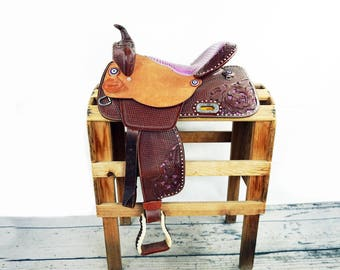 "Custom 15"" Purple Gator Rough Out Handmade Western Horse Pleasure Trail leather Saddle"