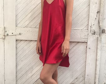 Lipstick Red Slip Dress Womens Size Medium