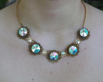 Swarovski Aurora Borealis Sparkly Collar Necklace