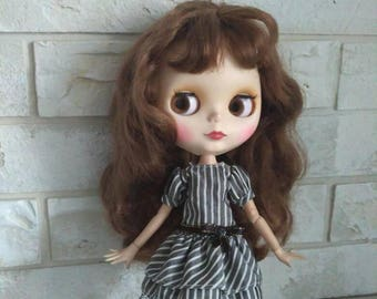 Blythe clothes Gray striped dress for Blythe  with sleeves