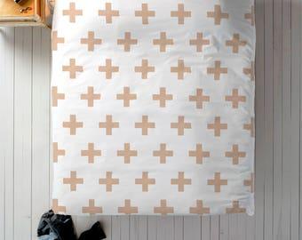 Blush Duvet, Scandinavian Bedding, Swiss Cross Decor, Doona Cover, Duvet Cover Queen, King Duvet Cover Set, Twin Duvet Cover, Doona