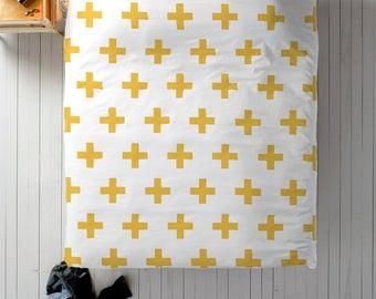 Mustard Duvet, Scandinavian Bedding, Swiss Cross Decor, Doona Cover, Duvet Cover Queen, King Duvet Cover Set, Twin Duvet Cover, Doona