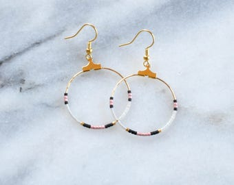 Beaded Hoop Earrings, Black Beaded Earrings, Bohemian Earrings, Beaded Earrings, Mini Hoop Earrings, Gold Hoops, Beaded Hoops, Delicate Hoop