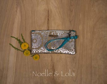 Silver Mandala Wristlet, Clutch, Wallet, Boho Purse, Indie Handbag, Birthday Gift for Her Wristlet by Noelle & Lola