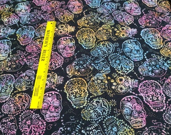 Sugar Skulls Batik Cotton Fabric