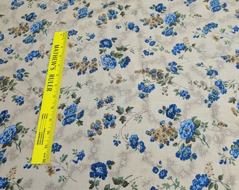 Bessie's Blues-Flowers Cotton Fabric from Molly B's Studio for Marcus Fabrics