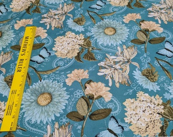 Vintage Garden-Flowers on Blue Cotton Fabric from Wilmington Prints