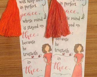 Bible Verse Bookmark - Isaiah 26:3 - handmade WITH tassel (stock #5) Thou wilt keep him in perfect peace