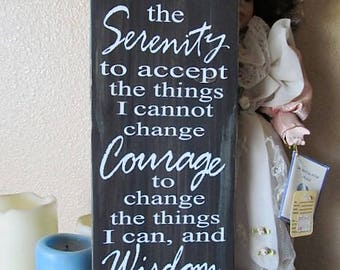 "Wood Sign, The Serenity Prayer, 6"" x 16"",wall decor, home decor, mixed natural medium wood stains with moss accents ,tree trunk, great gift!"