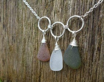 Genuine Sea Glass from Australia Necklace, Green-White-Brown Sea Glass, Unique One of a Kind Gift for Her, Beach Jewelry, Made from the Sea