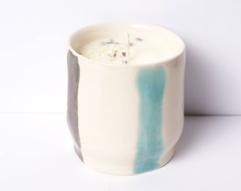 8 oz Single Wick Lemongrass and Orange EO Intention Candle in White and Blue Wheel Thrown Ceramic Cup