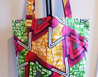 Tote bag (pink, yellow and green) Wax