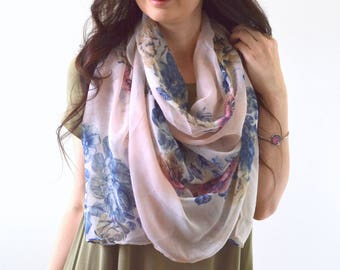 Peony Scarf, Flower Scarf, Woman Scarf, Floral Print Scarf, Gift for Her, Fashion Scarf, Woman Scarf Shawl