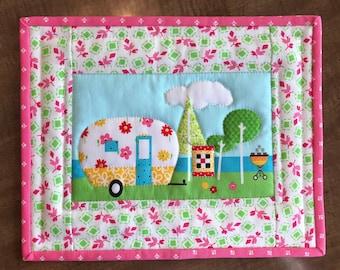 Quilted mug rug, snack mat, mug mat, camper, camping, Quiltsy handmade, Item #219