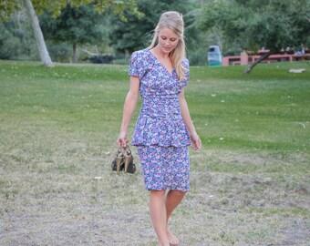 Pencil Dress | Wiggle Dress | Wedding Guest Dress | 80s Prom Dress | Special Occasion Dress | Peplum Dress | Ruched Dress | Summer Dress