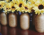 Golden Glitter Sunflower Centerpiece/ Decorative Mason Jar/ Mason Jar Home Decor/ Shabby Chic/ Wedding Party Decor/ Gold and Yellow/ Gift