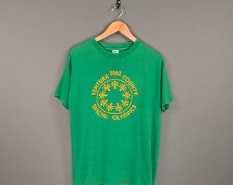 80s Ventura County Special Olympics T-Shirt. Vintage 80s Green Ventura Coastal Lemon Sponsored Special Olympics Tee.