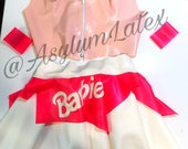 READY TO SHIP Latex Barbie Skirt with wrist bands & choker