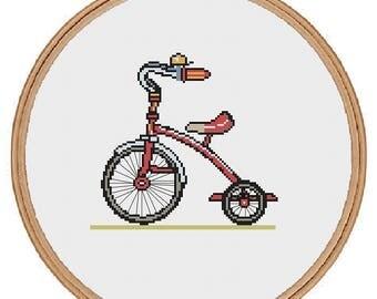 Vintage Tricycle cross-stitch pattern - pdf digital download - bike bicycle trike children nursery baby gift