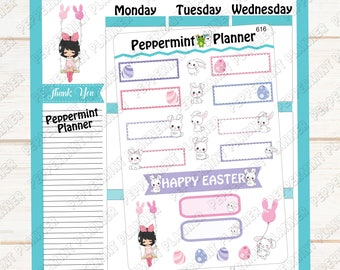 Spring Easter Girl with Bunny's --- Planner Stickers --- 616