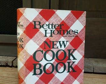 70's Better Homes and Gardens- Vintage New Cookbook- 1970's Kitchen Decor- Old Cookbooks- Red Plaid- Decorations- Housewarming- Gift for her