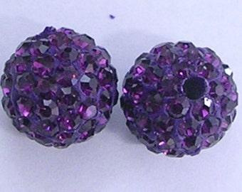 10 Amethyst Quality Pave Rhinestone Disco Balls 8mm 10mm 12mm Shamballa Beads