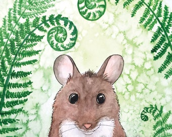 A forest mouse postcard