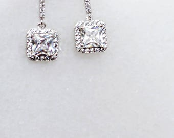 Crystal stud bridal earrings, princess cut earrings, brdesmaid earrings, bridesmaid jewelry, wedding earrings, swarovski crystal