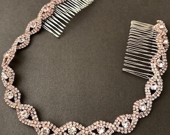 rose gold wedding headband bridal headpiece rhinestone headband hair tiara hair jewelry