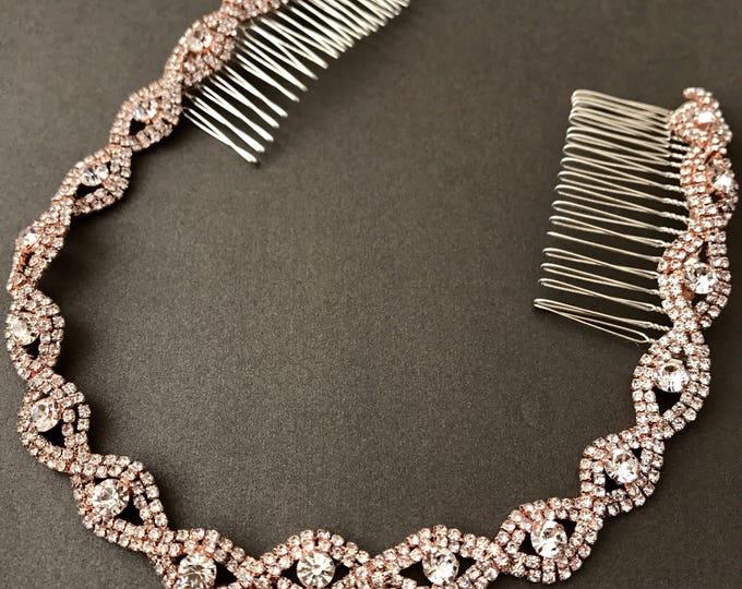 Rose gold Wedding Headband, Bridal Headpiece, Rhinestone Headband, Hair Tiara, Hair Jewelry, Bridesmaid, Hair Accessory