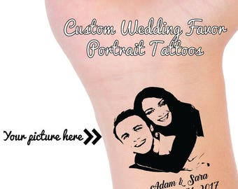 CUSTOM PORTRAIT TATTOOS, Wedding Guest Favors, Personalized Temporary Tattoo, Wedding Reception Favor, Wedding Tattoo, Save the Date