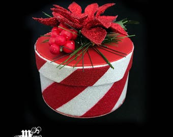 Paper Mache Jewelry Box with Candy Cane Glitter, Red and White, Striped, Pointsettia, Pine, Needles, Christmas, Glittery, Berries, Festive