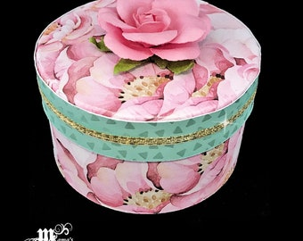 Pink Roses with Green Triangles Paper Mache Jewelry Box, Spring Rose Collection, Trinket Box, Spring Flowers, Mother's Day Gift, Wedding