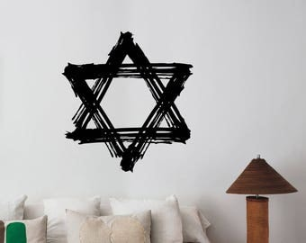 Grunge Star of David Wall Sticker Judaism Israel Sign Vinyl Decal Jewish National Symbol Art Decorations for Home Room Bedroom Decor ds3