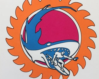 Sun Shark Surfer Screenprint - Orange Magenta Blue 1960s Inspired Surf Design
