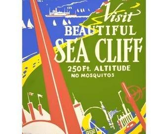 Sea Cliff New York Worlds Fair Travel Poster - Vintage Travel Print Art - Home Decor WPA