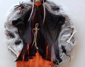 Primitive Halloween Witch Doll Wreath-Halloween Skull Witch-Spider Web-Roach Wreath-Wall-Doll Decor-by Floramiagarden
