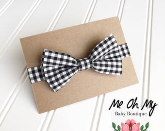 Black white gingham Baby bow tie, Toddlers boys photo prop, toddler bow ties, boys first birthday outfit, kids bow tie, newborn bow tie