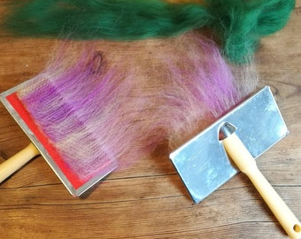 hand carders, flick carder, merino wool carder, mini carder, silk hand blender, handheld carder, felting comb elf kendal, silk blender wool
