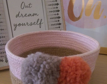pastel pink and natural rope coiled basket