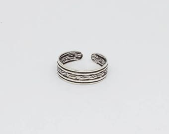 Plain Twist Patterned Oxidized Sterling Silver Toe Ring, Boho Ring, Adjustable Ring, Sterling Silver Jewelry