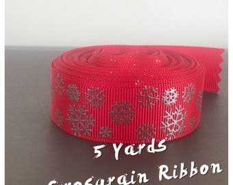 Red Snowflake Ribbon -5 Yards